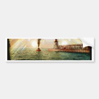 Harbor entrance, Charlevoix, Michigan circa 1900 Bumper Sticker