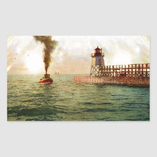 Harbor entrance, Charlevoix, Michigan circa 1900 Rectangular Sticker