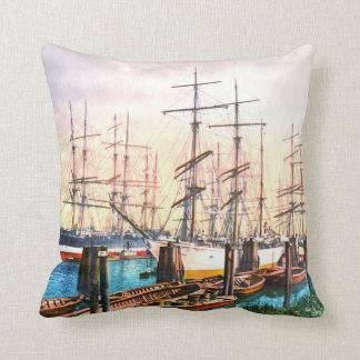 Harbor Hamburg Germany 1890 Throw Pillow