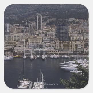 Harbor, Monte Carlo, French Riviera, Cote d' 4 Square Stickers