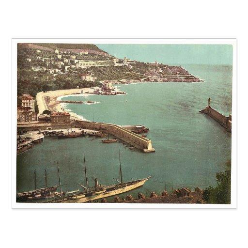 Harbor, Nice, France vintage Photochrom Postcard