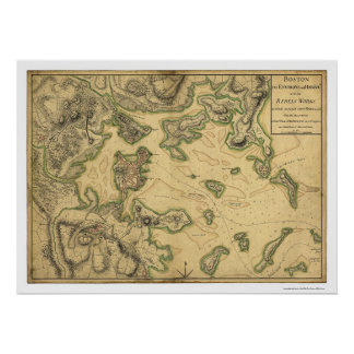 Harbor of Boston Map 1775 Poster