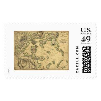 Harbor of Boston Map 1775 Stamp