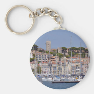 Harbor of Cannes in France Basic Round Button Keychain
