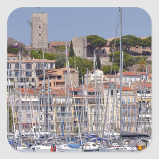 Harbor of Cannes in France Square Sticker