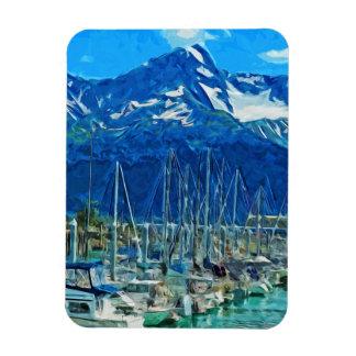 Harbor of Seward Alaska Abstract Impressionism Rectangular Photo Magnet