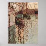Harbor of Trieste by Egon Schiele, Vintage Art Print