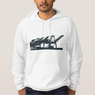 Harbor Port Cranes Fitted Hoodie