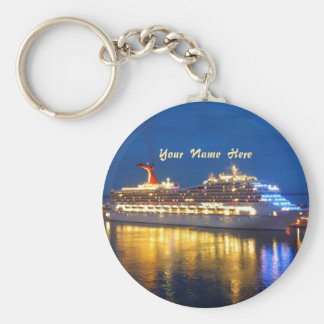 Harbor Reflections Personalized Basic Round Button Keychain