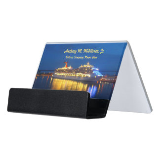 Harbor Reflections Personalized Desk Business Card Holder