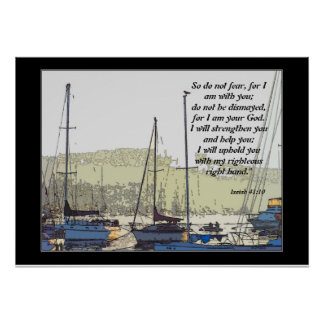 Harbor Sailboats Art Isaiah 41:10 Print