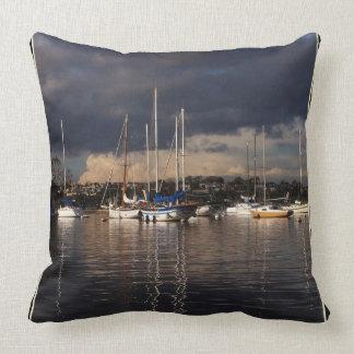 Harbor Sailboats Boats Marine Sea Throw Pillow