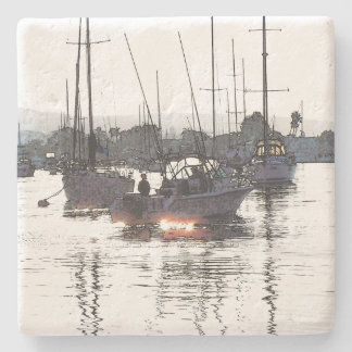 Harbor Sailboats Boats Sailing Marina Stone Coaster
