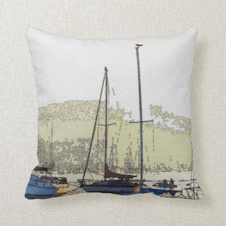 Harbor Sailboats Boats Sailing Marina Throw Pillow