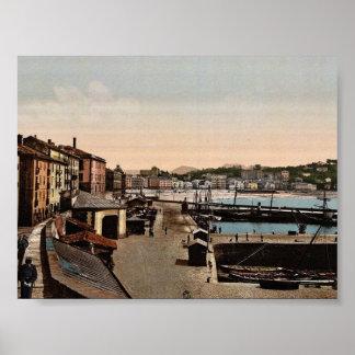 Harbor San Sebastian Spain vintage Photochrom Print