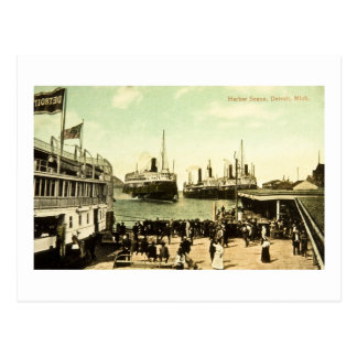 Harbor Scene, Detroit, Michigan Postcard