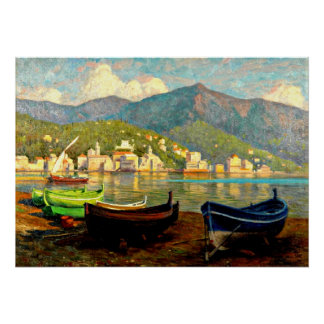 Harbor Scene from Rapallo; Paul Fischer painting Poster