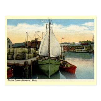 Harbor Scene, Gloucester, MA Vintage Postcard