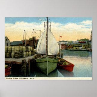 Harbor Scene, Gloucester, MA Vintage Poster