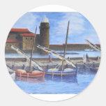 Harbor Scene Round Stickers