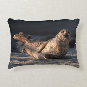Beach Themed Harbor seal on beach decorative pillow