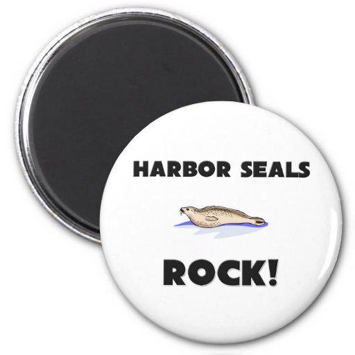 Harbor Seals Rock 2 Inch Round Magnet
