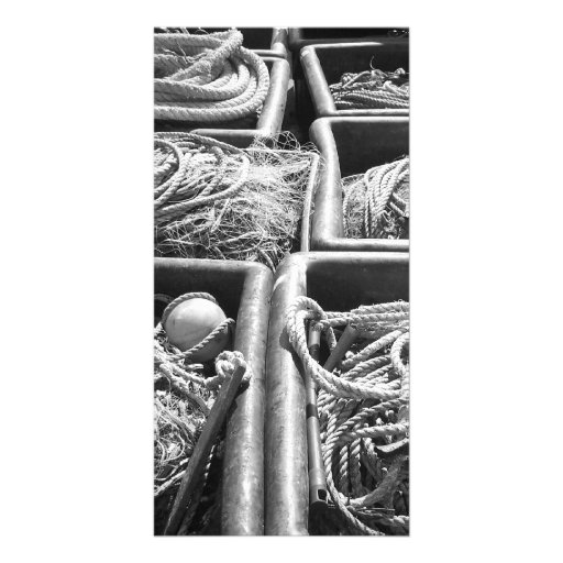 Harbor Side Boxes of Ropes. Personalized Photo Card