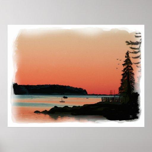 Harbor Sunset Oil Painting Canvas Print (standard)