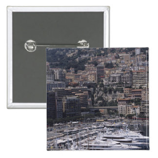 Harbor, vertical view, Monte Carlo, French Pinback Button