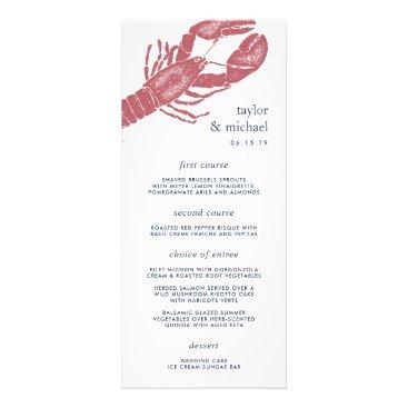 Beach Themed Harborside | Nautical Lobster Wedding Menu Card