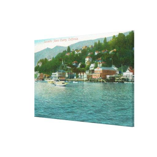 Harborview con los yates y los barcos de vela impresiones en lienzo estiradas