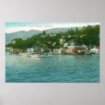 Harborview con los yates y los barcos de vela poster