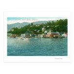 Harborview con los yates y los barcos de vela postales