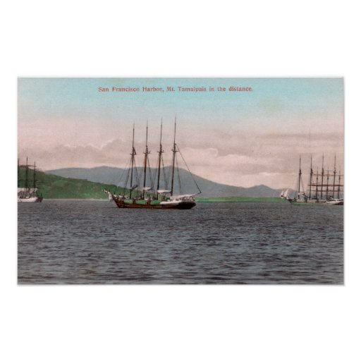 Harborview of Bay and Mt. Tamalpais Poster