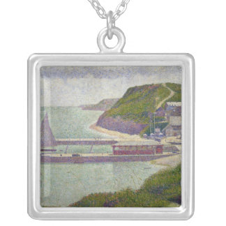 Harbour at Port-en-Bessin at High Tide, 1888 Silver Plated Necklace