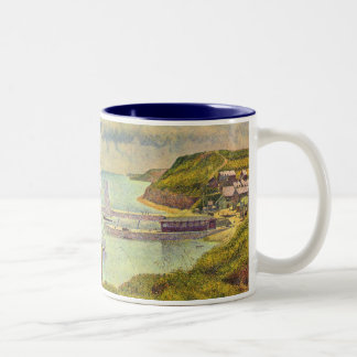 Harbour at Port-en-Bessin at High Tide by Seurat Two-Tone Coffee Mug