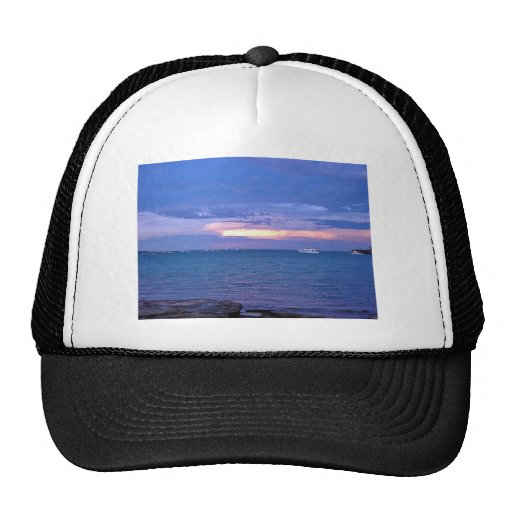 Harbour at sunset trucker hat