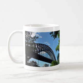Harbour Bridge with the blue sky and clouds Classic White Coffee Mug