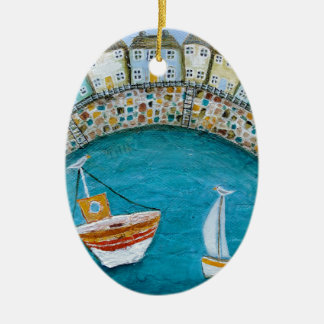 Harbour Houses Double-Sided Oval Ceramic Christmas Ornament