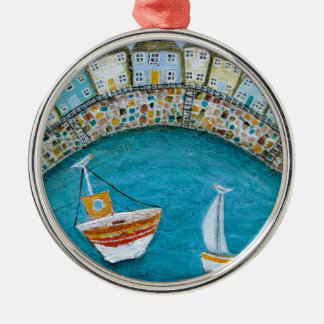 Harbour Houses Round Metal Christmas Ornament