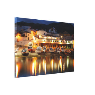 Harbour in the Azores Stretched Canvas Print