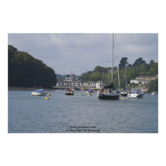 Harbour on the river Fal Poster