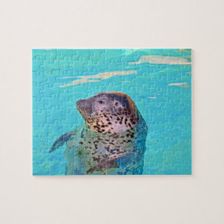 Harbour seal in the blue sea jigsaw puzzle