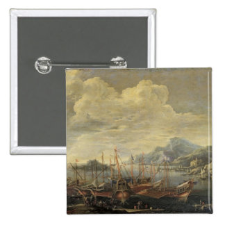 Harbour with Lighthouse and Ships (oil on canvas) 2 Inch Square Button