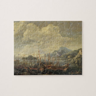 Harbour with Lighthouse and Ships (oil on canvas) Jigsaw Puzzle