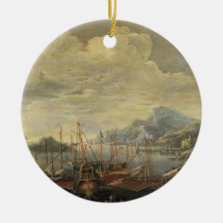 Harbour with Lighthouse and Ships (oil on canvas) Ornament