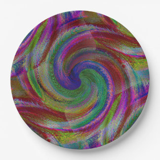 Hard candy color swirls reminds of holiday past paper plate