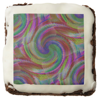 Hard candy color swirls reminds of holiday past square brownie