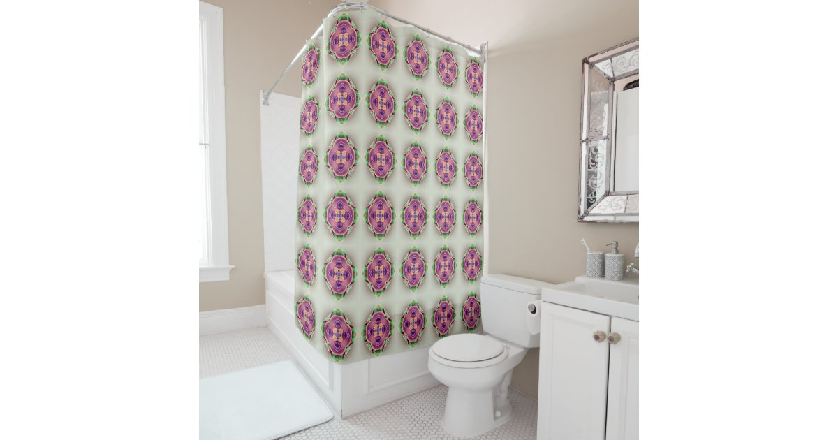 hard candy pink lavender flower and green shower curtain