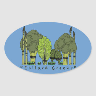 Hard Core Collard Greens Oval Sticker